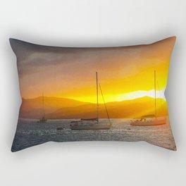 Norman Island Sunset - Sailboats at Sunset Rectangular Pillow