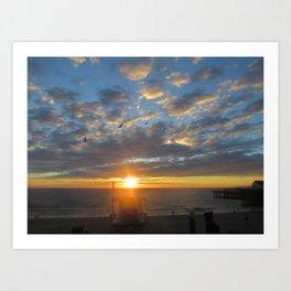 Sunset Birds & Lifeguard Tower Redondo Beach Ca.10-1-1-8 Art Print