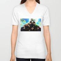 kakashi V-neck T-shirts featuring Kakashi sensei by Shibuz4