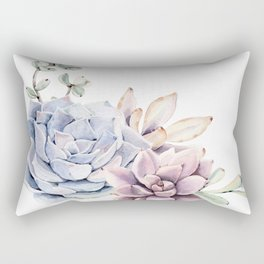 Pristine Succulents Blue and Pink Rectangular Pillow