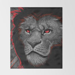 Mighty Black Mained Lion Throw Blanket
