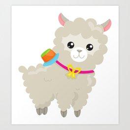 Cute Llama with Colorful Hat, Baby Llama Art Print