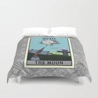 tarot Duvet Covers featuring The Moon - Tarot Card by kamonkey