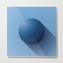 Flat Planet - #3 Neptune Metal Print