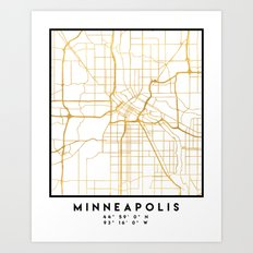 MINNEAPOLIS MINNESOTA CITY STREET MAP ART Art Print