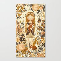 animals Canvas Prints featuring The Queen of Pentacles by Teagan White