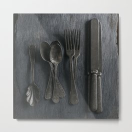 Old Flatware Metal Print