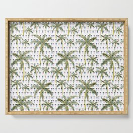 Coastal Christmas Palm Trees with Lights Serving Tray