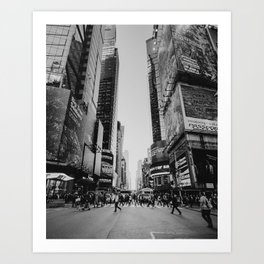 The busy streets of New York City | People crossing NYC crosswalk | Black and white travel photography Art Print