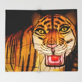 Glowing Chinese tiger lantern at night Throw Blanket