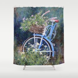 Blue Bicycle Between the Weeds Shower Curtain