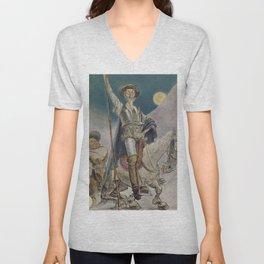 Don Quixote and Sancho Panza Magazine Cover Unisex V-Neck