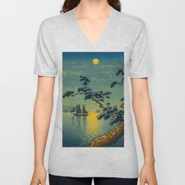 Tsuchiya Koitsu Maiko Seashore Japanese Woodblock Print Night Time Moon Over Ocean Sailboat Unisex V-Neck
