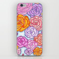 Multi-Colored Roses on Blue iPhone Skin