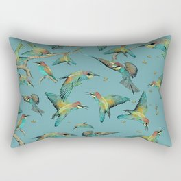 The birds and the bees pattern on blue Rectangular Pillow