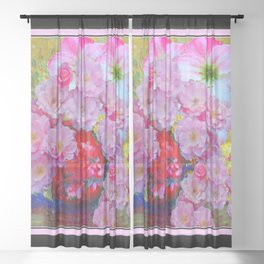 BLOOMING PINK ROSES IN RED VASE BLACK FRAME Sheer Curtain
