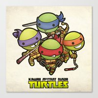 ninja turtles Canvas Prints featuring Kawaii Mutant Ninja Turtles by Squid&Pig