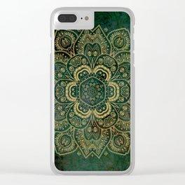 Golden Flower Mandala on Dark Green Clear iPhone Case