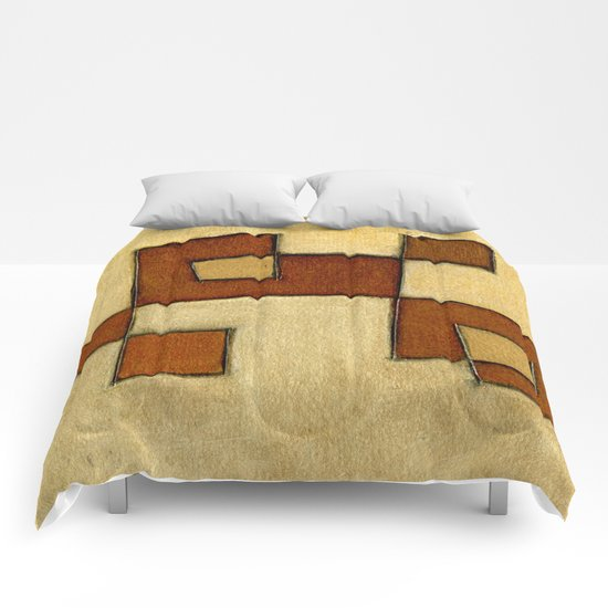 Protoglifo 01 'brown yell' Comforters