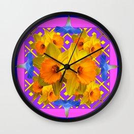 Blue Floral Fuchsia-Pink  Gold Daffodils Pattern Design Wall Clock