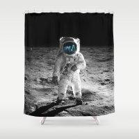 buzz lightyear Shower Curtains featuring Buzz Aldrin by exanaut