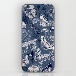 Dragonflies, Butterflies and Moths With Plants on Navy iPhone Skin