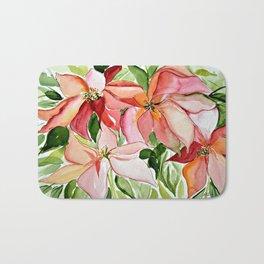Pink Poinsettias Bath Mat