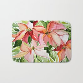 Pink Poinsettias Bath Mat