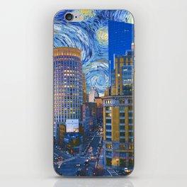 Boston Massachusetts Skyline and Starry Night iPhone Skin