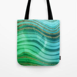Ocean Blue And Green Mermaid Glamour Marble Tote Bag