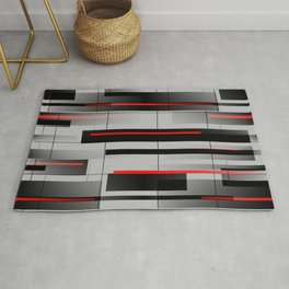 Off the Grid - Abstract - Gray, Black, Red Rug