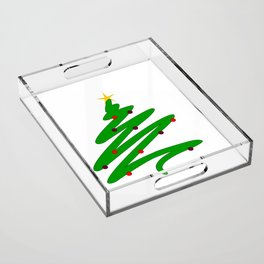 Minimalist Green Christmas Tree Doodle with Ornaments and Star Acrylic Tray