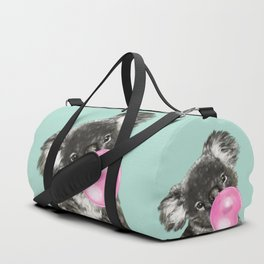 Playful Koala Bear with Bubble Gum in Green Duffle Bag