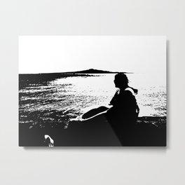 Girl looking at the ocean Metal Print