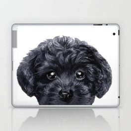 Black toy poodle Dog illustration original painting print Laptop & iPad Skin