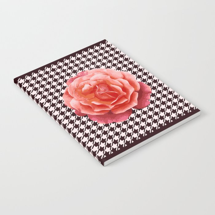 Modern rose on classic black & white houndstooth Notebook