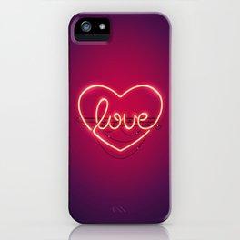 Love Heart Neon Sign iPhone Case