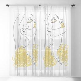 Woman Line Art I Yellow Sheer Curtain