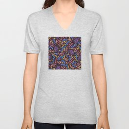 Neon Tropical Jungle Leaves, Starfish and Snails Unisex V-Neck