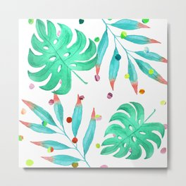 Tropical dots and leaves Metal Print