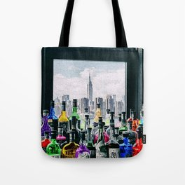 Aperitifs in New York Landscape Painting Tote Bag