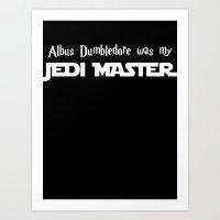 dumbledore Art Prints featuring Master Dumbledore black by Leslie-Nanane Nanère