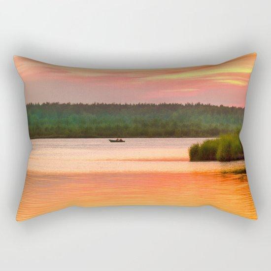 Summer sunset on Wild lake Rectangular Pillow