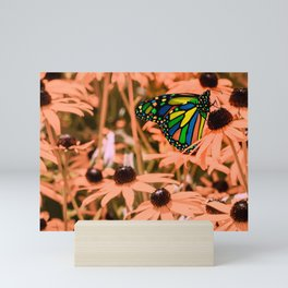 Surreal Monarch Butterfly on Coral Flowers Mini Art Print