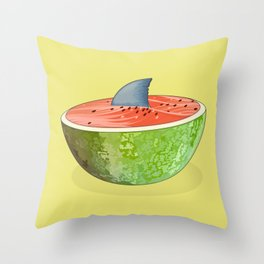 Shark Lurking in the Watermelon Throw Pillow
