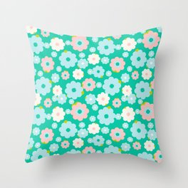 Small blue, white and pink flowers over a turquoise background Throw Pillow