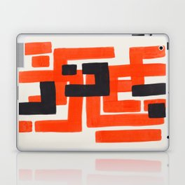 Harsh Mid Century Modern Line Pattern Ancient Aztec Ruins Orange Maze Pattern Black Accent Laptop & iPad Skin
