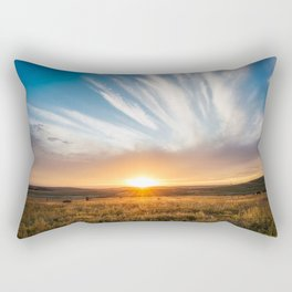 Grand Exit - Golden Sunset on the Oklahoma Prairie Rectangular Pillow
