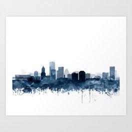 Portland Skyline Navy Blue Watercolor by Zouzounio Art Art Print