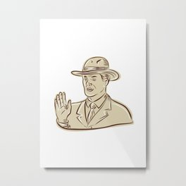 Businessman Fedora Hat Vintage Etching Metal Print